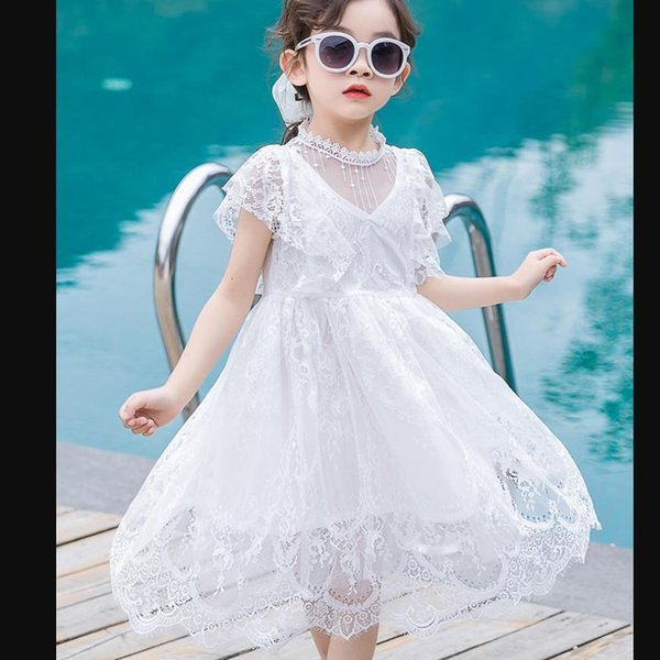 Teenage White Lace Dress 2019 Summer New Short Sleeve Princess Dress Girls Party Vestidos Children Clothes 4-16y Ws791