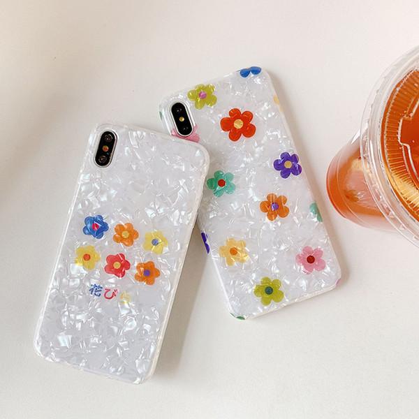 Für iphone xr xs max telefon case kleine blume shell muster 6 7 8 x plus transluzent tpu weichen imd handy case