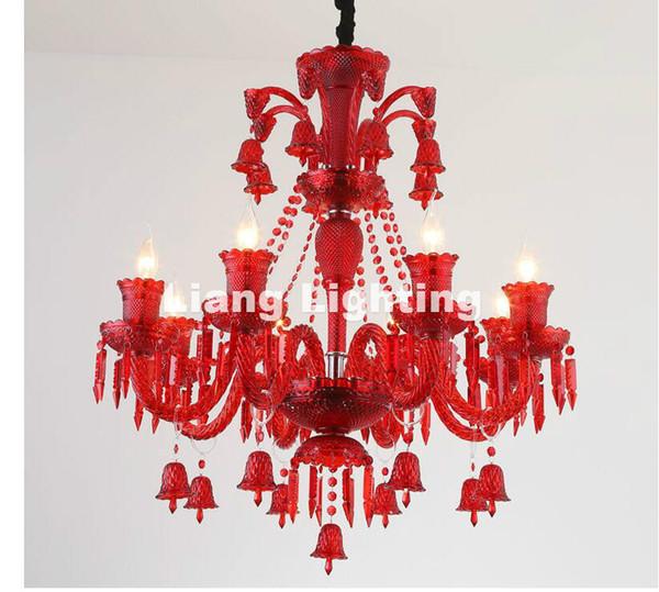 Envío gratis azul / rojo / púrpura moderna lámpara de araña de cristal 6 luces, Lustre De Crystal, Lustres De cristal luces de araña