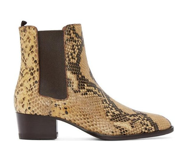 2019 New style Top quality designer golden Snake skin men shoes luxury Chelse mens western motorcycle boots shoes