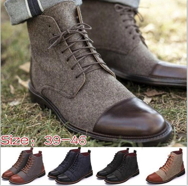 Homens ankle boots inverno casual lace up sapatos botas oxfords gladiador patchwork sapato feminino tamanho chaussure 38-46 TA0223