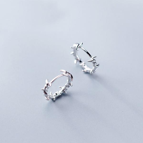MloveAcc Orecchini in argento sterling 925 puro filo spinato S925 Orecchini regalo per gioielli da ragazza per donna