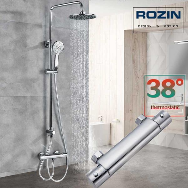 Chrome Salle de bain thermostatique Mélangeur de douche Robinet double poignée en laiton Colonne de douche pluie tête et douche à main chaude froide robinet