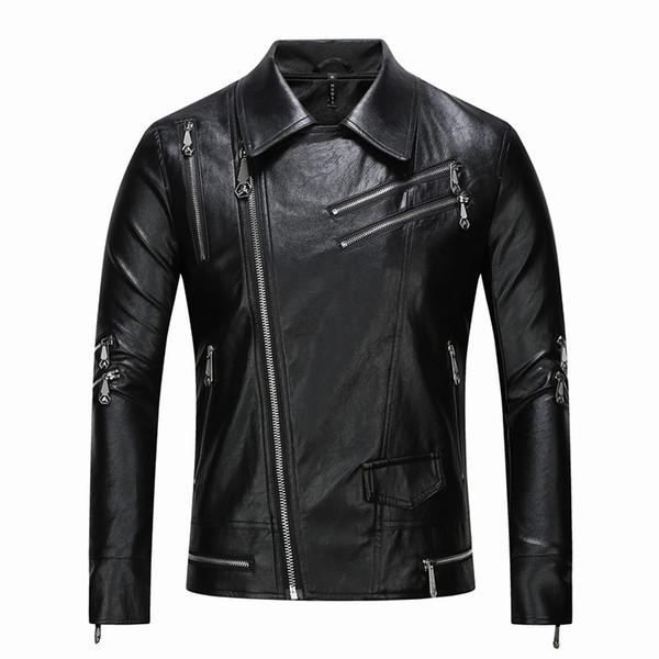2019 CLASSIC Men's Leather jacket stand collar PU motorcycle Jackets Man Casual Coat Tops