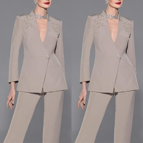 Elegant Long Sleeves Appliques Satin Mother Of Bride Pant Suit Sexy V Neck Mother Of The Bride Custom Made Formal Suit