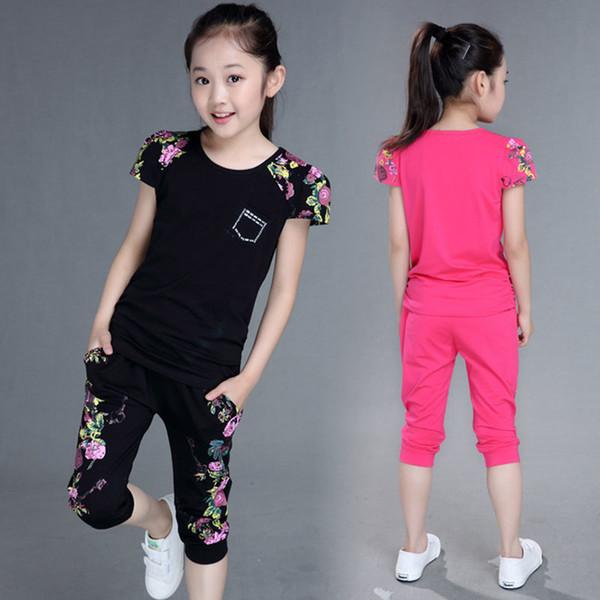 Children Clothing Sets Summer Girls Sports Suit Cotton Print Short Sleeve T-shirt+pants 2pcs Girls Clothes 4 6 8 10 12 13 Years J190514