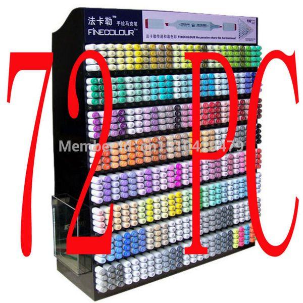 top popular 72 Pc   Set + 1 Pen Bag FINECOLOUR 72 144 192 Color Set Sketch Marker Pen Manga Graphic Cheaper Than Copic C18112001 2021