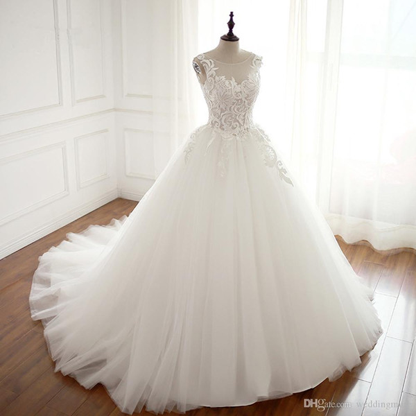 Real Robe De Mariage Wedding Dress 2019 Ball Gown Boat Neck Custom Made Vestidos De Novia Bridal Gown