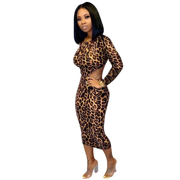 Женщины дизайнер сексуальные леопардовые платья ночной клуб юбки с длинным рукавом с круглым вырезом спинки мода принт одежда горячая распродажа DHL 1378