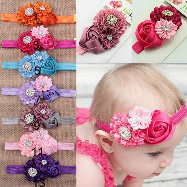 New Cute Baby Wear Flower Rhinestone Headbands Elastic Hairbands Photography Props New Fashion Baby Rhinestone Headband