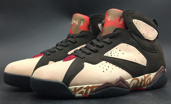 Zapatillas de baloncesto auténticas Patta x 7 OG SP para hombre 2019 Zapatillas Shimmer auténticas 7S resistentes con terciopelo rojo marrón carmesí AT3375-200 02
