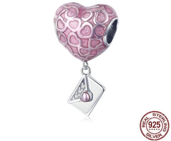 Moda 925 Carta de Plata Esterlina Love Heart Beads Charm Fit Collar Colgante Para Las Mujeres DIY Joyería de la Pulsera