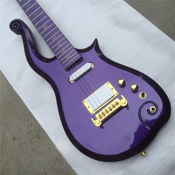 Free Shippinghot popular venda sh pickup wrapwind ponte príncipe roxo set no pescoço guitarra elétrica Guitarra