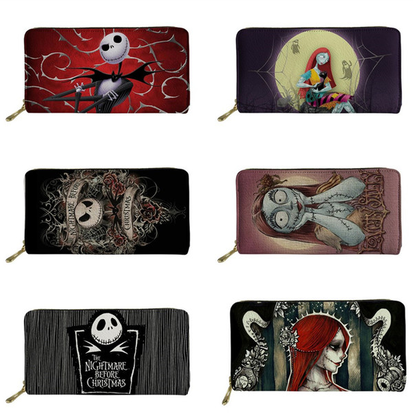 FORUDESIGNS PU Women Wallets Jack And Sally Nightmare Before Christmas Printed Coin Money Bag Zipper Gothic Purse Cartera Mujer