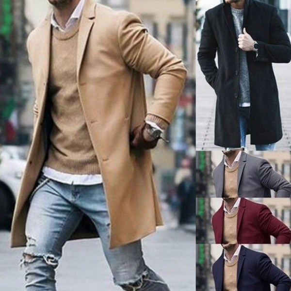 best selling 2019 Winter Warm Men Street Long Jackets Coat Pockets Stylish Overcoat Plus Size M-3XL For 5 Colors