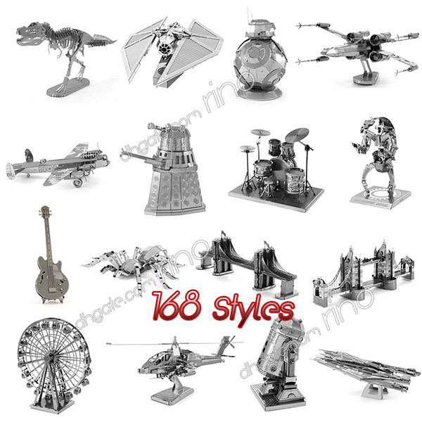 168 Designs Metal 3D puzzles Toys model DIY Aircraft Cars Tanks Tie Fighter Planes 3D Metallic Nano building puzzle for Adults and Kids