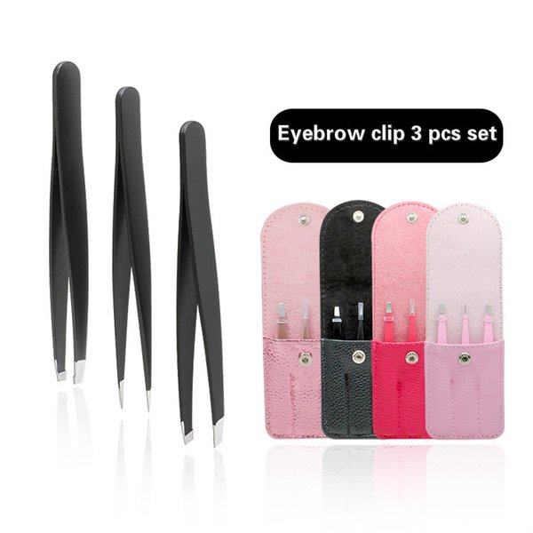 top popular 1.2 3pcs set with PU bag thick stainless steel eyebrow clip with sharp and slanted eyebrow tweezers mouth hair pulling 2021