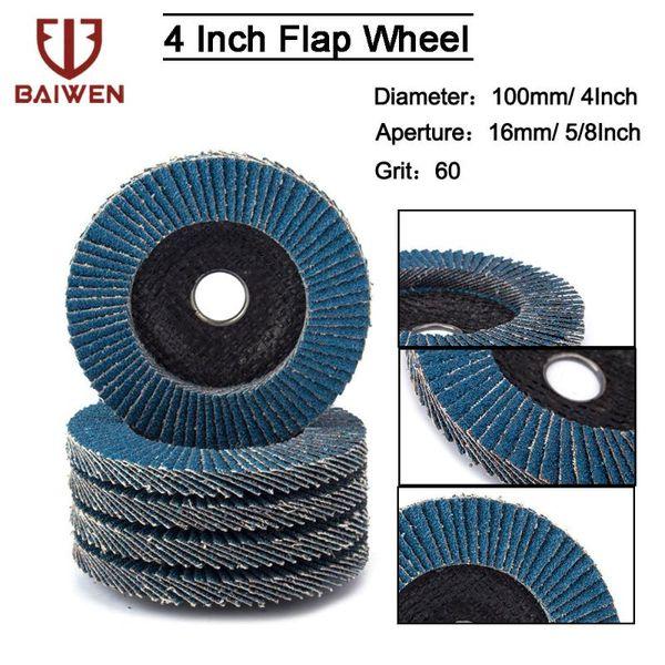 "best selling 2 5 10Pcs 4"" Sanding Flap Disc 60 Grit Zirconia Alumina Angle Grinder Sanding Discs Metal Plastic Wood Abrasive Tool"