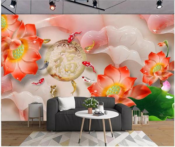 WDBH 3d duvar kağıdı özel fotoğraf Güzel yeşim oyma çiçek balık arka plan oturma odası ev dekor 3d duvar resimleri duvarlara 3 d için duvar kağıdı