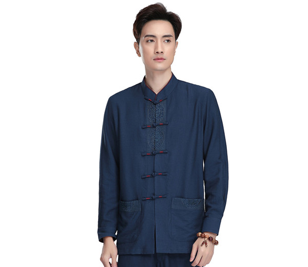 Shanghai Story Mandarin Linen Shirt Chinese Traditional Kung Fu Tops Long Sleeve Tang Suit Clothing For Men Linen Chinese Shirt Martial Arts