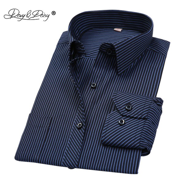 Davydaisy Hot Sale Spring Men Shirt Long Sleeved Striped Solid Plaid Male Business Shirt Brand Clothing Formal Shirt Man Ds022 Y190506