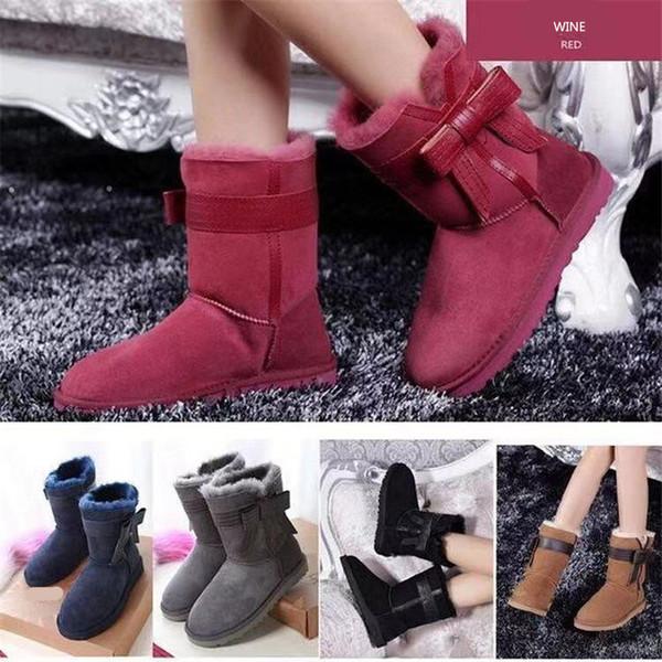 Luxury Designer Women Boots Australia Brand Winter Snow Boot U&G Big Bow Fur Boots Unisex Ankle Knee Cowskin Boots Shoes Size 34-44 C72905