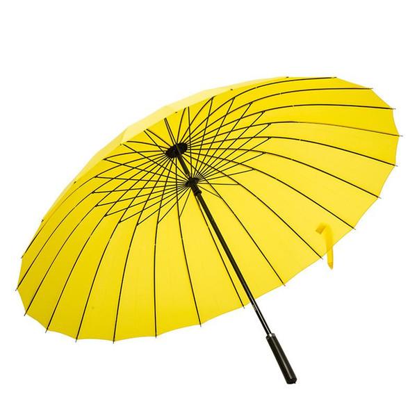 Straight rod long handle umbrella Double Use business hotel rainbow umbrella enlarge Resistance wind rain colorful types LJJQ102