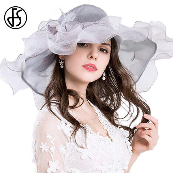 FS Vintage Kentucky Derby Hats For Women Summer Fashion Big Flower Organza Sun Hat Wide Brim Beach Casual Beach Chapeu Feminino D19011103