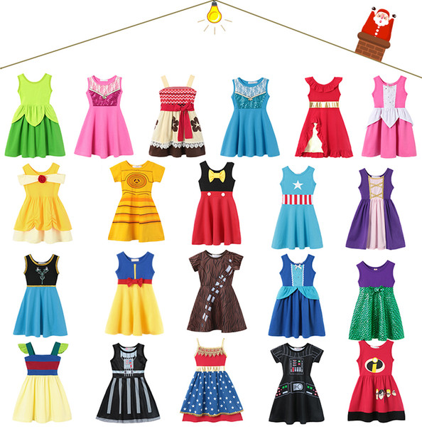 21 style Little Girls Princess Summer Cartoon Children Kids princess dresses Casual Clothes Kid Trip Frocks Party Costume free by DHLAA1913