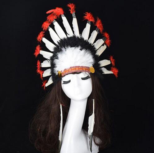 Chaud Halloween Jour De Carnaval Coloré Plume Chapeaux De Fête Bandeau Indien Chapeaux Headwear Villus Chefs Cap De Chapeau Coiffure Bonjour 20pcs / lotGB621