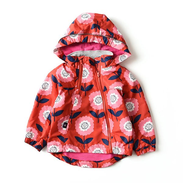 Jackets Coats for Girls Spring Autumn Red Flower Kids Trench Coat Baby Girl Windbreaker Children Hoodies Outerwear 2-7 Years