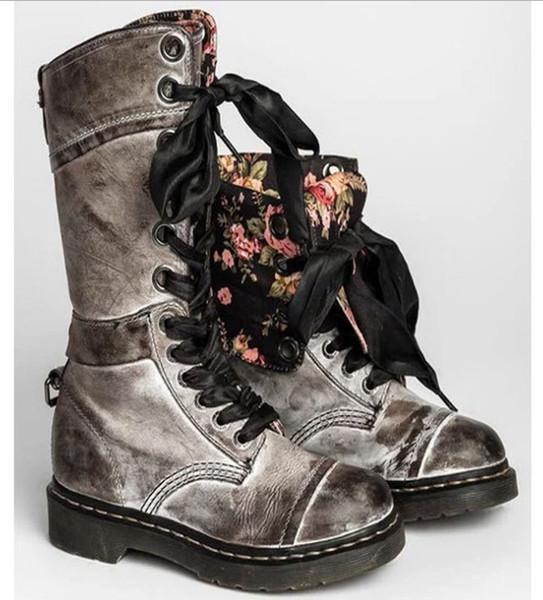 Homme Combat High-Top Boots Vintage Moto Lacets Punk Bottes Cowboy Chaussures