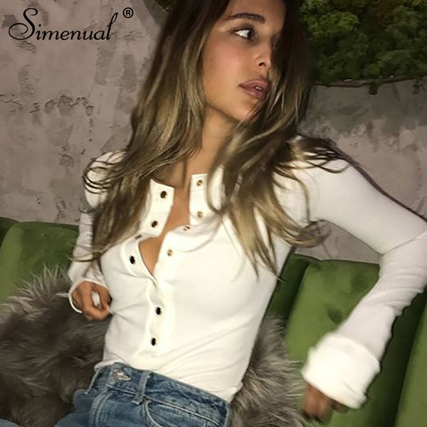 Simenual Buttons Up Autumn T-shirts For Women Tops Fashion Slim Sexy White Long Sleeve Female T-shirt Solid Basic Tee Shirt Sale Q190529
