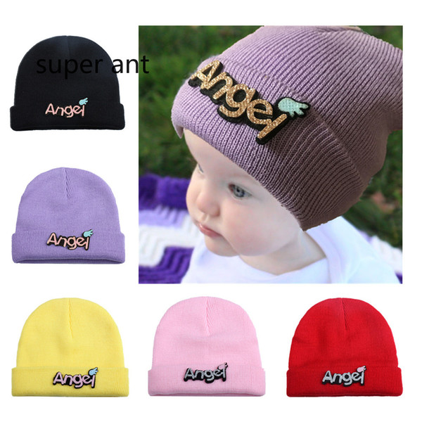 New fashion pure color letter patch baby knitting hat winter warm ears cover outdoor baby soft cap children sport headwear 0-4T