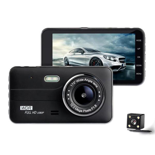 Araba Sürüş Kaydedici 4 Inç IPS HD full HD 1080 P Araba DVR 4 Inç IPS Ekran Kamera Çift Lens Çizgi Kam Sürüş Video Kaydedici
