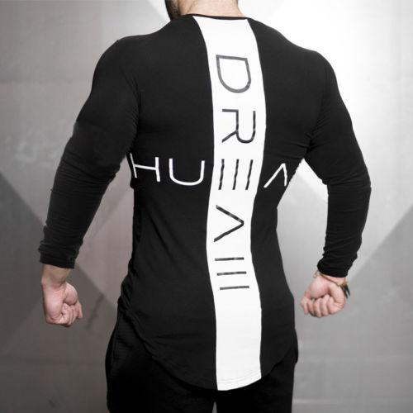 Mens Gym Long Sleeve Running T shirt Longline Slim Muscle Fit Long Sleeve Plain Top Curved Hem Plus Size 3XL