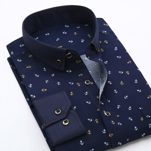 Impresa floral de los hombres de manga larga camisas sport del otoño del verano del resorte del vestido masculino Camisas hombre más tapa del tamaño ropa de los hombres