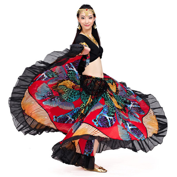 Long Gypsy Skirts Wholesale Designer New Fashion Trendy 720 Degree Printed BellyDance Tribal Maxi Belly Dance Gypsy Costume Clothes Women