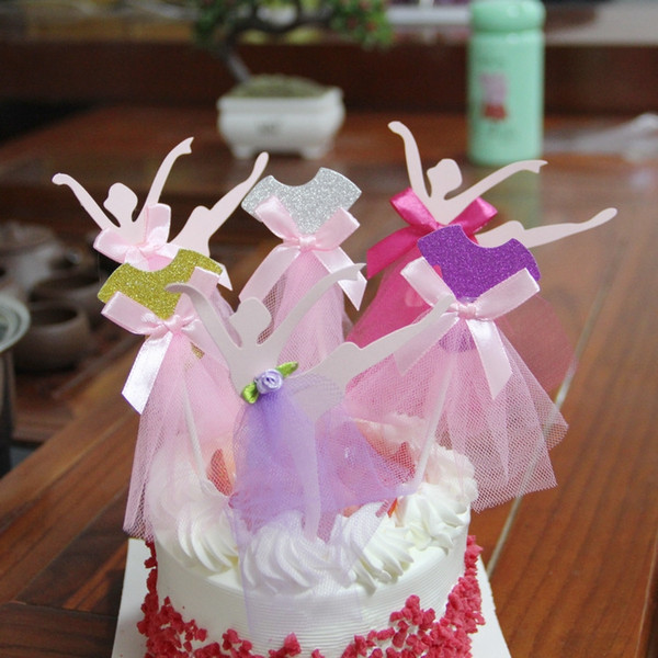8 Colors Glitter Ballet Dancer Cupcake Toppers Wedding Decoration Centerpieces Kitchen Accessories Home Decor Party Supplies