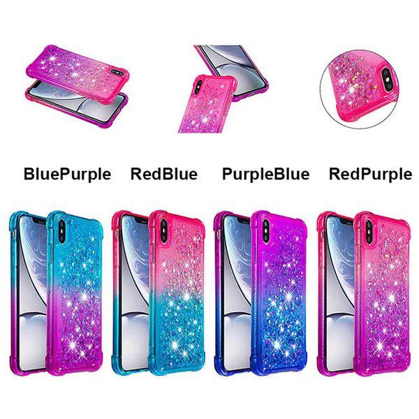 Gradient Liquid Glitter TPU Case Cover For iPhone XR Xs Max X 7 8 Plus Samsung S10 S10e S9 S8 Galaxy M10 M20
