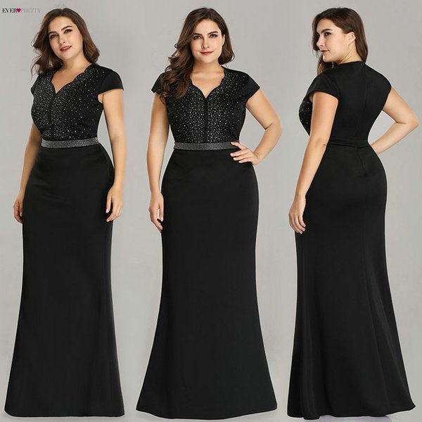 Plus Size Black Evening Gowns Ever Pretty Ez07623 2019 Elegant Mermaid Sparkle V Neck Beaded Long Formal Gowns For Wedding Party Y19051401