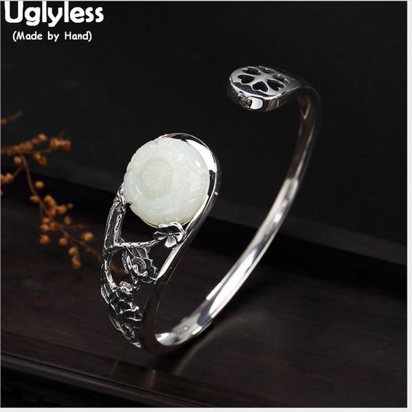 Uglyless 100% reale solido argento 925 Natural Jade Fiore Bangles per le donne Hollow braccialetto largo Etnica Lotus Fine Jewelry