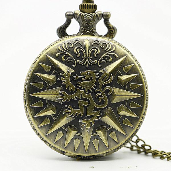 Aslan Romen rakamları Renk Dial Kuvars Pocket Watch Analog Kolye Kolye Mens Womens Saatler Zinciri TD2064