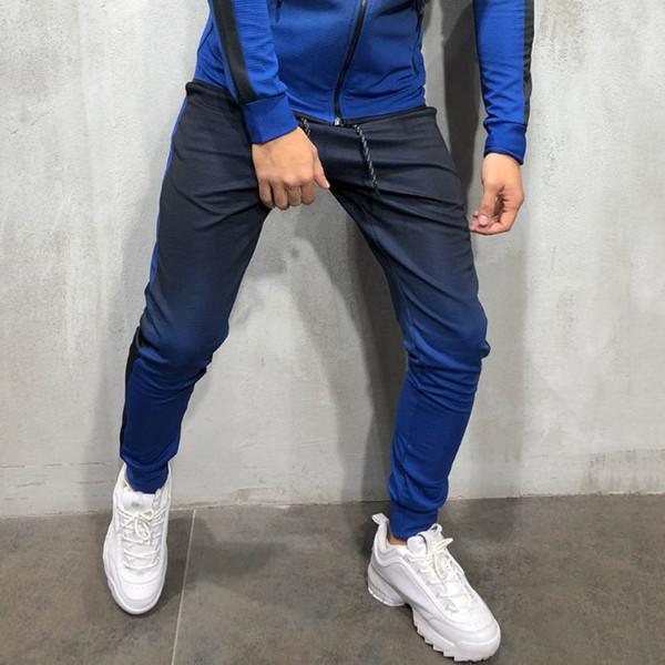 ISHOWTIENDA Pants Men 2018 Trousers Men Casual Gradient Color Print Black Sweatpants Track Pants Waist Track Pantalon Homme