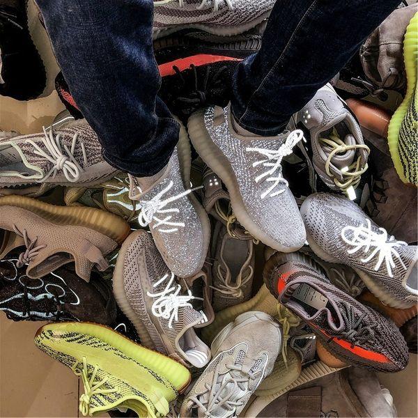 2019 V2 Kanye West Statik Runnning tasarımcı Ayakkabı s Erkek Kadın Susam Dondurulmuş Tonu Zebra Bred Beluga Eğitmenler Noktalar Sneakers Sneakers boyutu 36-48 L20