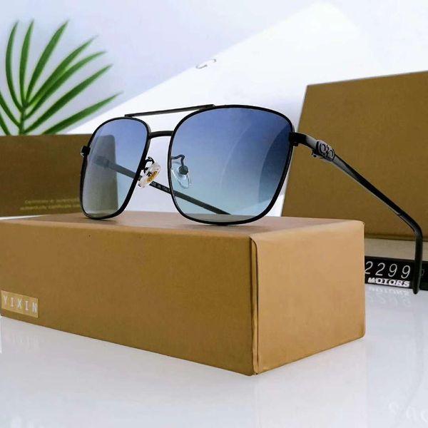 Mens retângulo de óculos de sol de luxo óculos de sol de metal óculos de sol adumbral óculos de sol uv400 2299 5 cores opcional de alta qualidade com caixa
