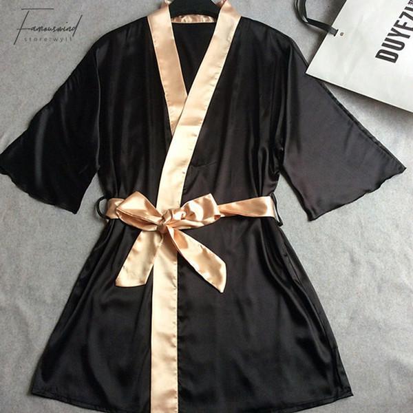 Mulheres Silk Satin curta noite Robe Sólidos Kimono Moda Bath Sexy Banho Peignoir Femme casamento da noiva Robe