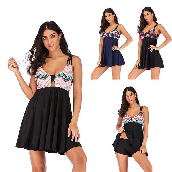 5 Renk S-5XL kadın Artı Boyutu Ince etek mayo Kostüm Tankini Swim Elbise Bikini Yüzme Mayo Beachwear