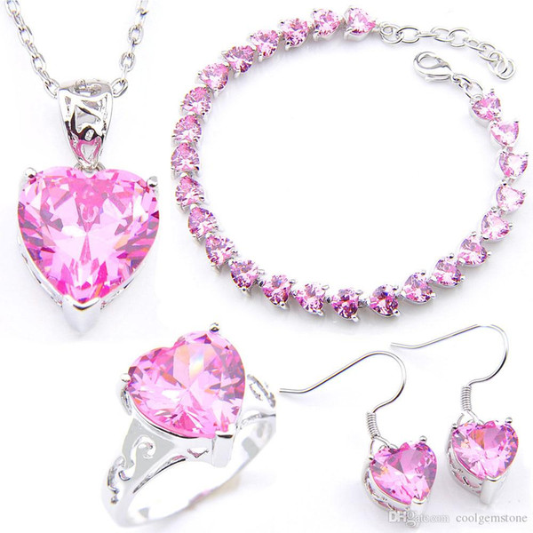 LuckyShine 925 Sliver Pink Heart Crystal Zircon Jewelry Sets Earring Pendants Rings Bracelet For Women Fashion Bride Engagement Sets NEW