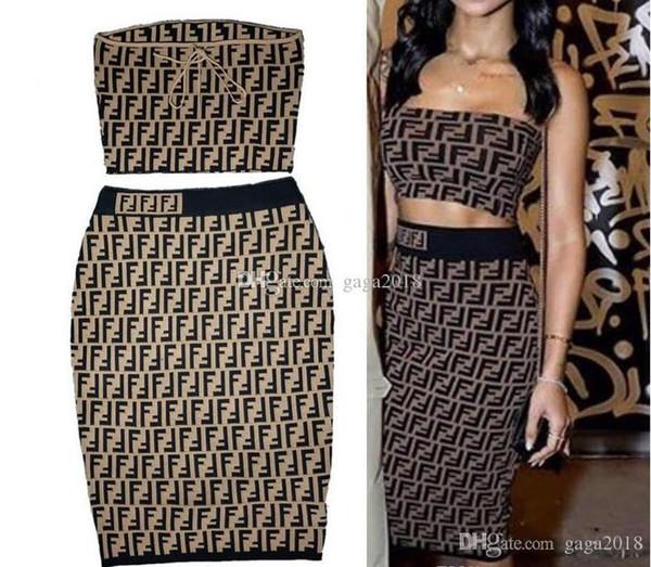 2019 Nuevo diseño sexy vestido informal Marrón Camisa top Mangas cortas Lápiz Falda Traje Punto STRETCH VISCOSE JERSEY VESTIDO Conjunto de túnica
